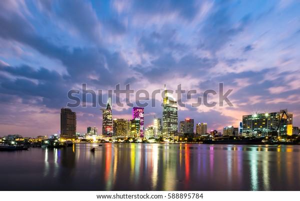 Ho Chi Minh city, Vietnam - February 16, 2017: Colorful sunset on Sai Gon river. Ho Chi Minh city, Viet Nam