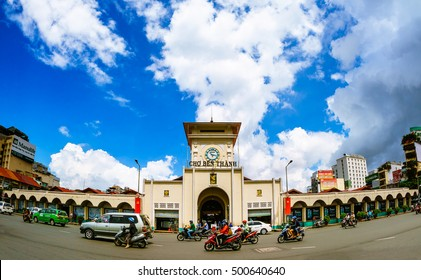 Ho Chi Minh City, Vietnam-Oct 19, 2016: Sunset on Ben Thanh market, the market is one of the earliest surviving structures in Saigon and an important symbol of Ho Chi Minh City