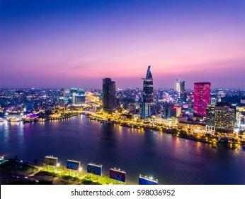 Ho Chi Minh City view at night