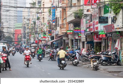 Ho Chi Minh City-Nov 1st 2013: Bui Vien Street. The street is a famous bachpacker and expat area of the city.Image by Kevin Hellon.