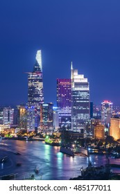 Ho Chi Minh City's business central distric view at night