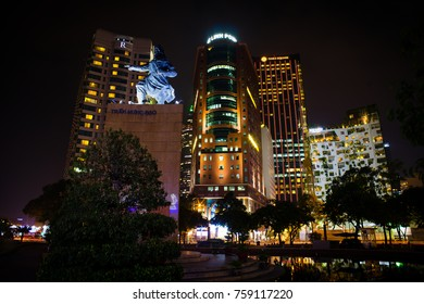 HO CHI MINH CITYSCAPE, OCTOBER 2017: Saigon (Hochiminh City, Vietnam) with an impressive cityscape consisting of several major skyscrapers.