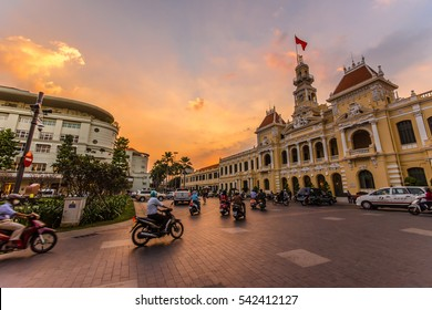 HO CHI MINH CITY,VIETNAM - DEC 10: Traffic in front of Ho Chi Minh City Hall at twilight on December 10,2015 in Ho Chi Minh City,Vietnam.