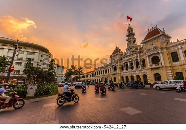HO CHI MINH CITY,VIETNAM - DEC 10: Traffic in front of Ho Chi Minh City Hall at twilight on December 10,2015 in Ho Chi Minh City,Vietnam.