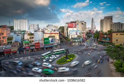 Ho Chi Minh City,Vietnam - February 01, 2017 : High view of Saigon skyline from drone during Lunar New Year at downtown of Ho Chi Minh City, Vietnam