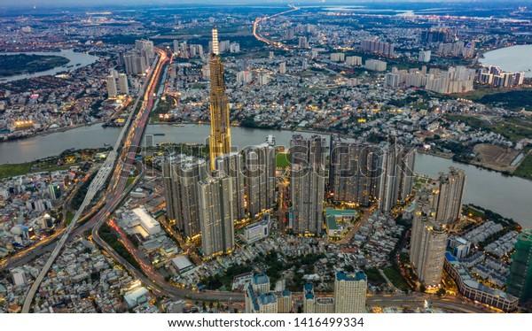 Ho Chi Minh city/Vietnam - May 31 2019 : Landscape of Landmark 81 at Saigon on sunset - Ho Chi Minh city , at Vietnam
