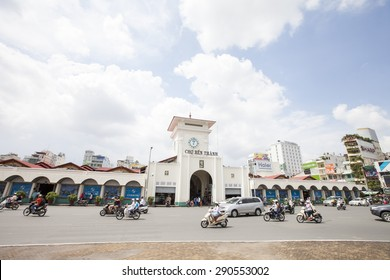 HO CHI MINH CITY,VIETNAM- sep 21 2014: Ben Thanh market at Quach Thi Trang park in Hochiminh city, on November 24 2014. Ben Thanh market built in French domination and the symbol of Hochiminh city