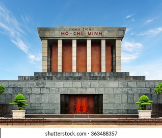 The Ho Chi Minh Mausoleum in centre of the Ba Dinh Square in Hanoi, Vietnam. Blue sky in background. The Ho Chi Minh Mausoleum is a popular tourist destination of Asia.