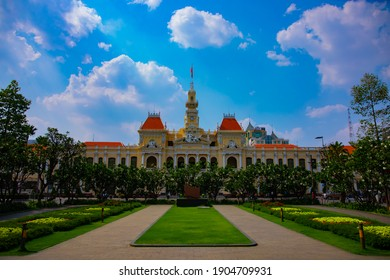 Ho Chi Minh People's Committee Office Building. Ho Chi Minh Vietnam - 02.26.2020 It was built between 1902 and 1908 in the French Colonial style as the Saigon City Hall of the time. Since 1975, it has