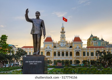 Ho Chi Minh statue in front of City Hall, Saigon, Ho Chi Minh City, Vietnam