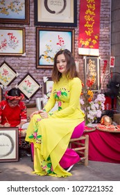Ho Chi Minh, Viet Nam - February 11, 2018. Editorial: The young girl wear ao dai at Pho Ong Do.