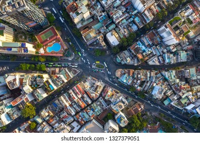 "HO CHI MINH, VIET NAM - FEB 6, 2019: Top view aerial of Dan Chu roundabout or "" Nga Sau Dan Chu "", Ho Chi Minh City, Viet Nam with development buildings, transportation, energy power infrastructure."