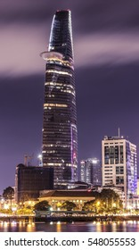HO CHI MINH, VIET NAM - JUNE 2016: Bitexco tower at night, Sai Gon