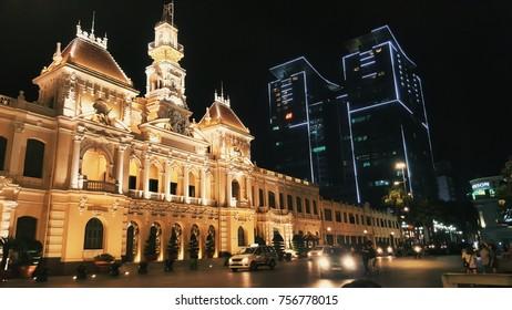 Ho Chi Minh, Viet Nam - November 15, 2017. Editorial: Ho Chi Minh  city hall at Le Thanh Ton street.
