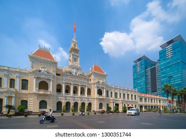 HO CHI MINH VIETNAM - 01, 2019: The Ho Chi Minh City Hall or Ho Chi Minh City People's Committee built in 1902-1908 in a French colonial style of Saigon. People Committee building in Sai Gon, Vietnam