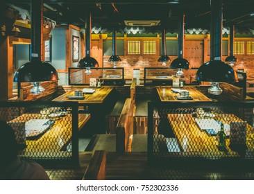 HO CHI MINH / VIETNAM, 09 NOVEMBER 2017 - Interiors in a Korean-style Barbecue Restaurant Gogi House in Saigon.