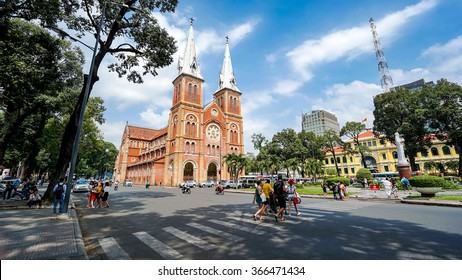 HO CHI MINH, VIETNAM - 21 Jan, 2016. Notre Dame Cathedral (Vietnamese: Nha Tho Duc Ba) in sunny day. Build in 1883 in Ho Chi Minh city, Vietnam. HO CHI MINH CITY (SAI GON)