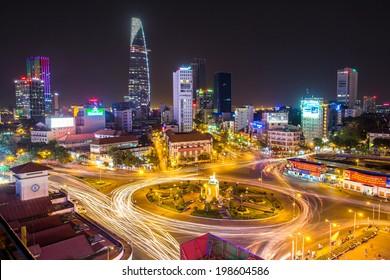 HO CHI MINH, VIETNAM - 24 March, 2014, Night traffic around Quach Thi Trang park in Ho Chi Minh city, Vietnam