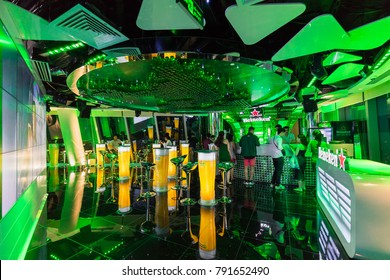 HO CHI MINH, VIETNAM, 24 NOVEMBER 2017: The World of Heineken green floor. At the top three floors (58th-60th floor) of BITEXCO Financial Tower