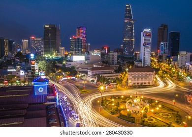 Ho Chi Minh, Vietnam -April 19, 2015: View of Ho Chi Minh city form top of Silverland Central Hotel & Spa