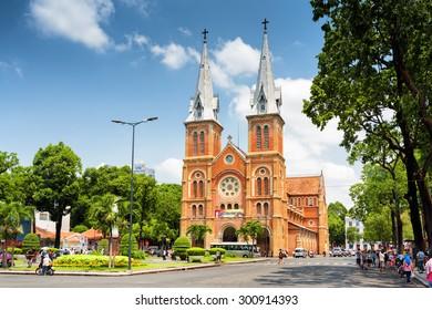 HO CHI MINH, VIETNAM - APRIL 30, 2015: Saigon Notre-Dame Cathedral Basilica on blue sky background in Ho Chi Minh city, Vietnam. Ho Chi Minh is a popular tourist destination of Asia.