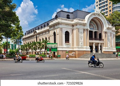 HO CHI MINH, VIETNAM - APRIL 28, 2014: The historic Saigon Opera House (Municipal Theater) on Dong Khoi Street in Ho Chi Minh city. Ho Chi Minh City is a popular tourist destination of Asia.