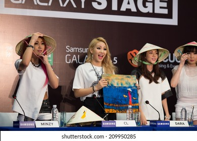 Ho Chi Minh , VietNam - August 9, 2014:  Korean girl famous band 2NE1 attend the press conference for their concert Galaxy Stage  in Vietnam (All For Nothing world tour) at Pullman Saigon Center.