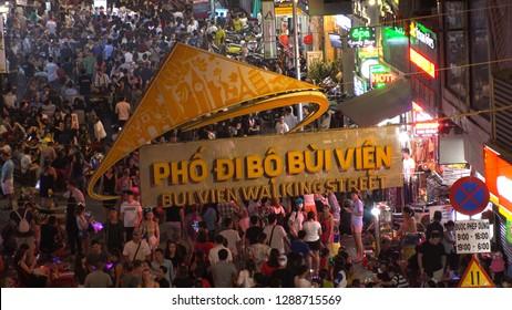 HO CHI MINH,  VIETNAM - CIRCA NOVEMBER 2018 : Sign of BUI VIEN STREET at night.  Tourist and backpacker street in Ho Chi Minh city.