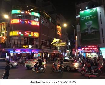 HO CHI MINH,  VIETNAM - CIRCA NOVEMBER 2018 : Scenery of BUI VIEN STREET at night.  Tourists and backpacker street in Ho Chi Minh city.