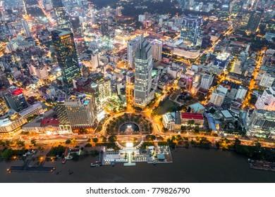 HO CHI MINH, VIETNAM - DEC 19,2017: Royalty hight quality free stock image Aerial view of Me Linh square, Ho Chi Minh City, Vietnam.