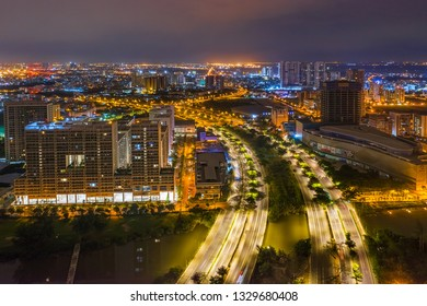 HO CHI MINH, VIETNAM - FEB 12, 2019: Top view aerial of Nguyen Van Linh road, area Phu My Hung new urban, Ho Chi Minh City with development buildings, transportation, infrastructure. Vietnam.