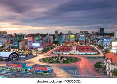 HO CHI MINH, VIETNAM - JAN 23, 2016 : View towards the city center and Ben Thanh market with construction in Ho Chi Minh City, Vietnam