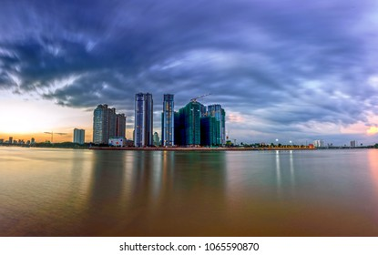 HO CHI MINH, VIETNAM - January 15, 2017 skyline in Ho Chi Minh city, in evening, Vietnam on January 15, 2017. Ho Chi Minh city is the biggest city in Vietnam.