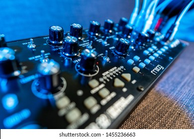 Ho Chi Minh, Vietnam - July 18th 2019 : Semi modular synth from Moog. Mother 32 synthesizer. Modern Synth for music industry.