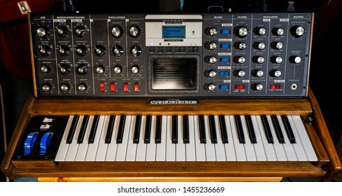 Ho Chi Minh, Vietnam - July 18th 2019 : Full photo of vintage synth from Moog.