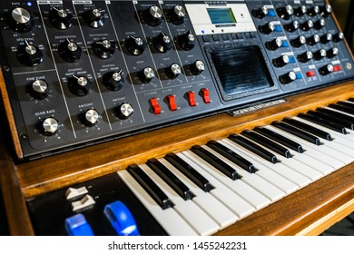 Ho Chi Minh, Vietnam - July 18 2018 : Close photo of vintage synth from Moog.