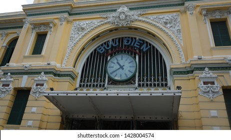 Ho Chi Minh, Vietnam: June 14th, 2019: The Ho Chi Minh City Post Office, or the Saigon Central Post Office is a post office in the downtown Ho Chi Minh City, near Saigon Notre Dame Basilica, the city'