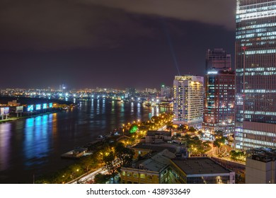 HO CHI MINH, VIETNAM - JUNE 17, 2016 : View towards the city center, Thu Thiem river and construction in Ho Chi Minh City, Vietnam.