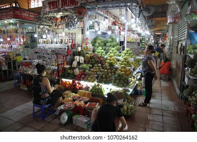 Ho Chi Minh, Vietnam - March 12th, 2018: Panoramic scene of the bustling food market of Ben Thanh in Ho Chi Minh Vietnam.