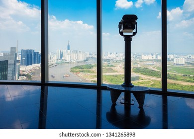 HO CHI MINH, VIETNAM - MARCH 08, 2018: The Saigon Skydeck is the observation deck offers Ho Chi Minh City panoramic views in Bitexco Financial Tower in Vietnam