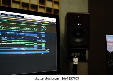 Ho Chi Minh / Vietnam - March 08 2020: The screen of Logic pro X. Music producers used it for making beats and producing music.