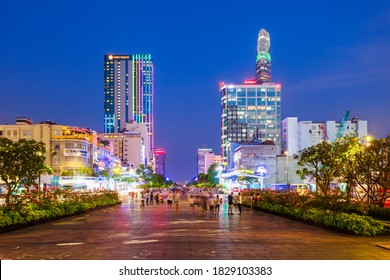 HO CHI MINH, VIETNAM - MARCH 08, 2018: Ho Chi Minh city skyline night view. Ho Chi Minh is the largest city in Vietnam.