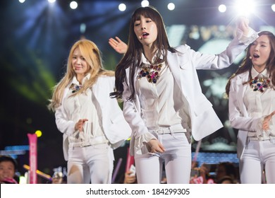 Ho Chi Minh , VietNam - March 22: Tae Yeon , Hyo Yeon (SNSD, Girls' Generation band) dance and sing on stage at the Human Culture Equilibrium Concert Korea Festival in Viet Nam on March 22, 2014.