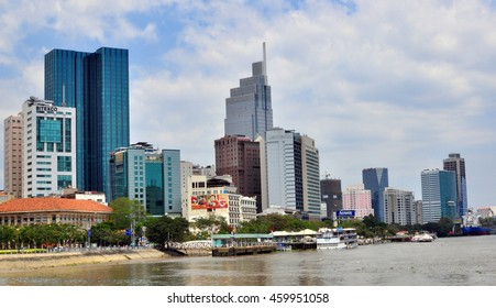 HO CHI MINH, VIETNAM - MARCH 8: View of a buisness quarter of Ho Chi Minh city on March 8, 2015. Ho Chi Minh is the secord largest city of Vietnam.