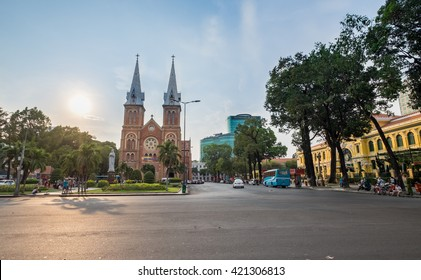 Ho Chi Minh, Vietnam - May 15, 2016: Sunday Sunset over Saigon Notre Dame Cathedral (Vietnamese: Nha Tho Duc Ba), build in 1883 by French colonists.