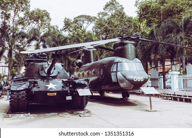 HO CHI MINH , VIETNAM- NOVEMBER 23, 2018 : Ancient helicopter and tank at Vietnamese War Remnants Museum, museum keep history evidence of war time for Saigon.
