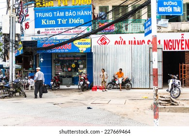 HO CHI MINH, VIETNAM - OCT 5, 2014: Architecture, traffic, ads, advertisements in the centre of Hochiminh (Saigon). Saigon is the largest city in Vietnam