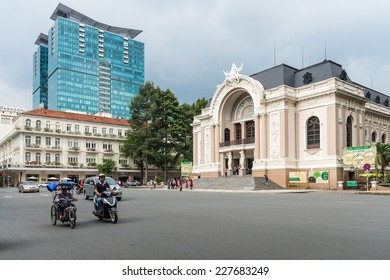 HO CHI MINH, VIETNAM - OCT 5, 2014: Architecture in the centre of Hochiminh (Saigon). Saigon is the largest city in Vietnam