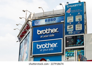 HO CHI MINH, VIETNAM - OCT 5, 2014: Advertisements on the houses in Hochiminh (Saigon). Saigon is the largest city in Vietnam