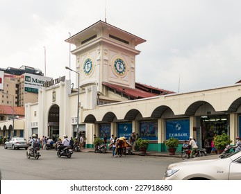 HO CHI MINH, VIETNAM - OCT 5, 2014: Ben Thanh market building in Hochiminh (Saigon). Saigon is the largest city in Vietnam